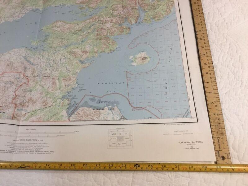 Vintage Iliamna Alaska Topographic Series Chart 1957