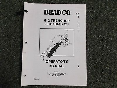 Bradco 612 Trencher Hydraulic Tractor Attachment Owner Operator Service Manual