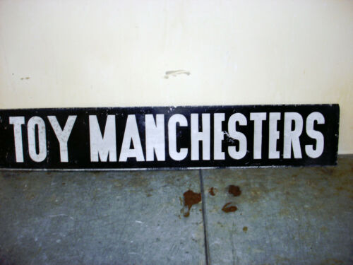 """2 SIDED Toy Manchester TERRIER Dog  Metal Sign 30"""" x 5.5 """" W"""