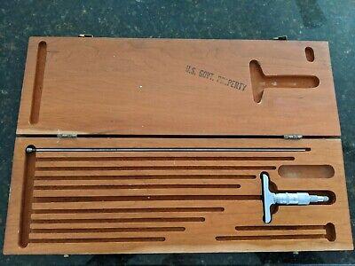 Vintage Scherr Tumico Depth Micrometer Gage W Wood Case