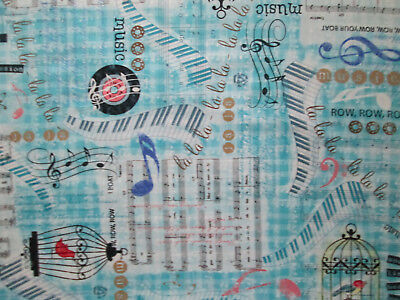 MUSIC LINES NOTES RECORDS KEYBOARD SONGS BLUE COTTON FABRIC BTHY  for sale  Shipping to India