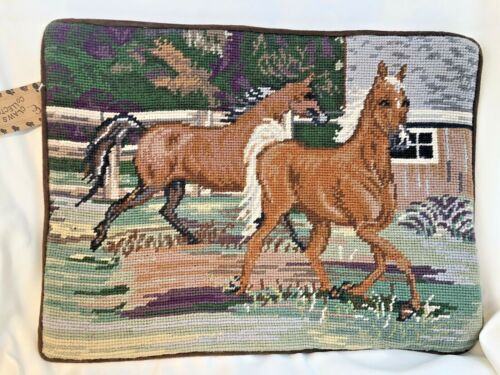 "Horse Equestrian Needlepoint Pillowcase 16"" by 12"" Velveteen Back w/Zipper"