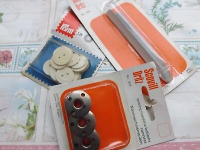 Sewing notions buttons machine bobbins collar stays original packing vintage