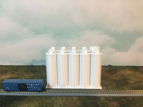 White - Flour Silo SET - Z Scale 1:220 EASY 2 pc Assembly! Your Small Town USA