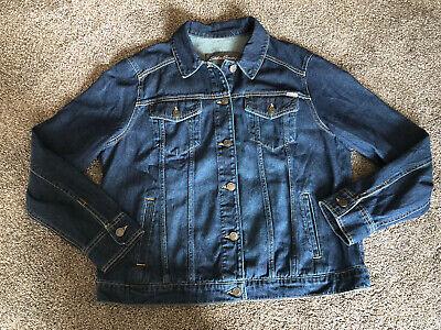 Eddie Bauer New Long Sleeve Dark Wash Denim Button Down Womens Jacket Xl Nwot