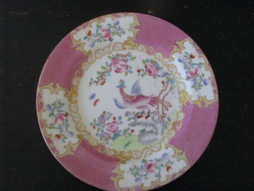 "MINTON PINK COCKATRICE SALAD DESERT PLATE 7 1/2""  (WREATH GLOBE BACKSTAMP) 9646"