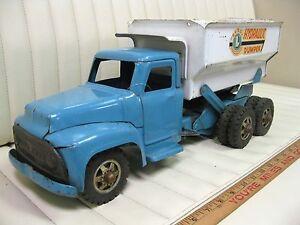1955-57-BUDDY-L-Hydraulic-Dumper-Dump-Truck-Pressed-Steel-Toy