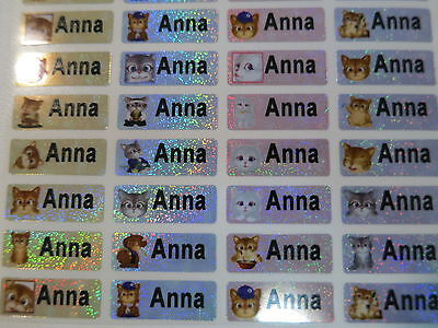 300 Sparkle Cat Personalized Waterproof Name Stickers 0.9 X 2.2 Cm Labels