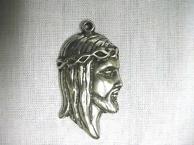 JESUS CHRIST WEARING CROWN OF THORNS PROFILE HEAD PEWTER PENDANT ADJ NECKLACE](Crown Of Thorns Necklace)