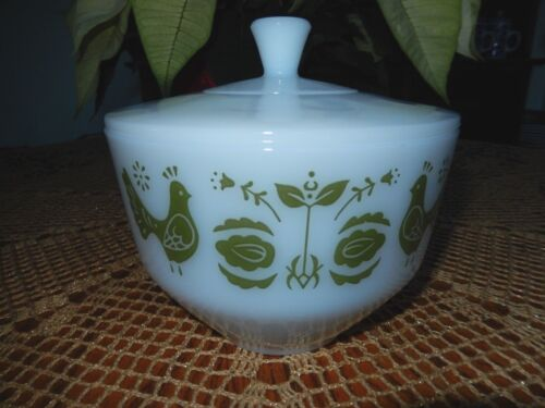 Federal Glass 1-1/2 Qt. Casserole With Olive Green Partridges~EXC~Fast Shipping!