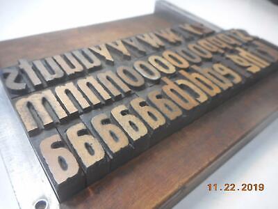 Printing Letterpress Printer Block Antique Lower Case Wood Alphabet