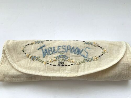 VINTAGE EMBROIDERED LINEN TABLESPOONS CUTLERY CASE WRAP TABLEWARE SERVICE