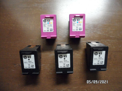 Lot of (5) EMPTY Genuine HP 63 Ink Cartridges---FREE SHIPPING