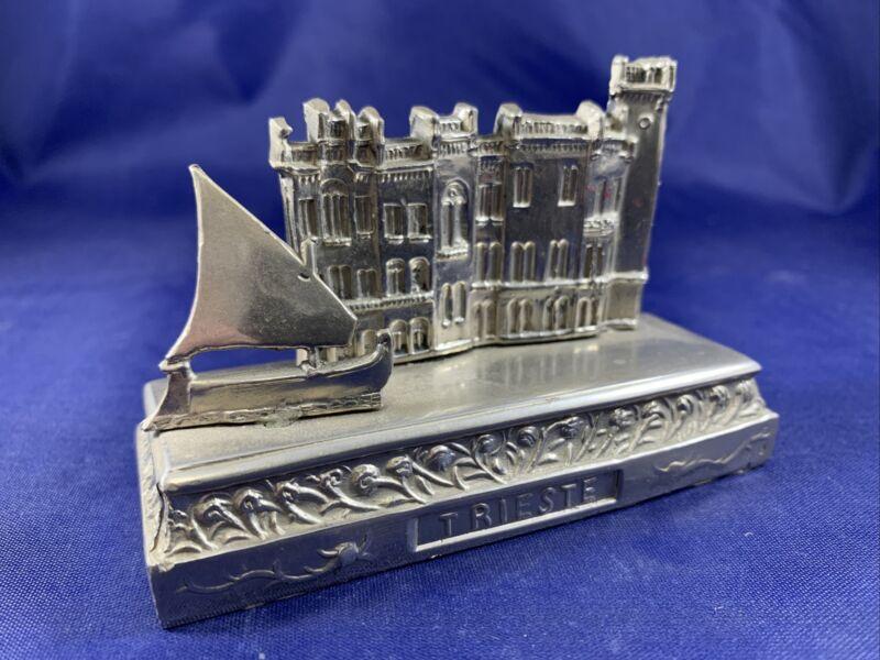 Rare Vintage Miramar Trieste Italy Metal Souvenir Building
