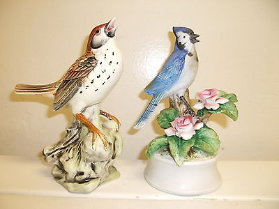 "BLUE JAY & WOOD THRUSH BIRD FIGURINES -  - 7"" IN HEIGHT - BOTH VINTAGE"