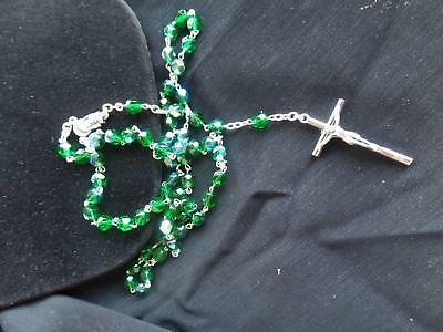 May Emerald Colored Crystal Bead Birthstone Rosary from Italy