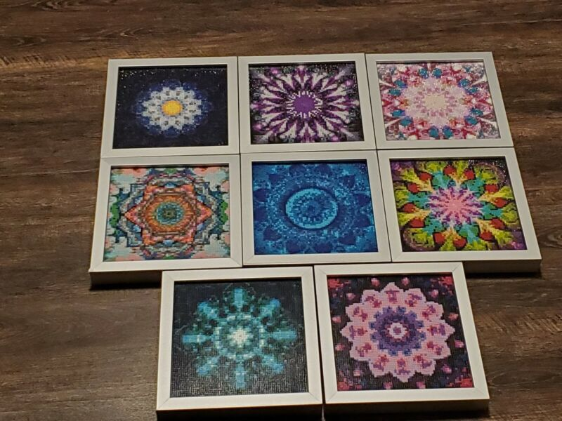 Completed lot of 8 Diamond Art Paintings 8.75x8.75 Frames Beautiful