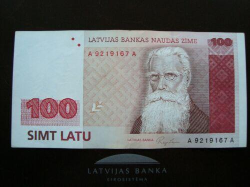 Latvia Lettland 100 latu 1992 banknote A 9219167 A