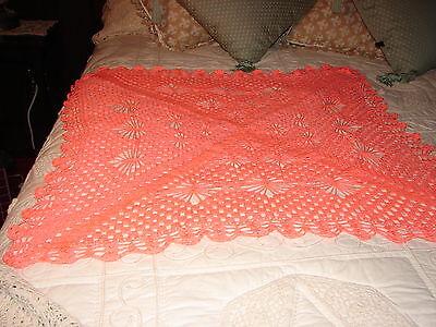 NEW Handmade Handcrafted Crochet BABY Afghan Throw Blanket ~ NICE GIFT in ORANGE