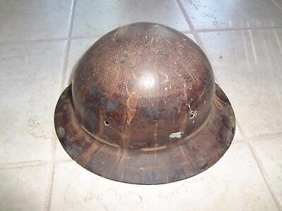 Vintage Old School Hard Hat Iron Worker Construction Workerminer Full Brim .