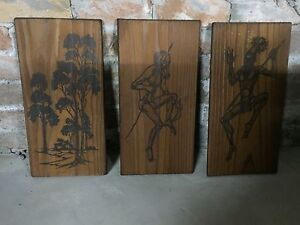 Wooden Aboriginal art Pitt Town Hawkesbury Area Preview