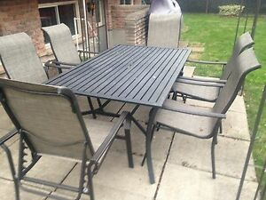 Patio set with table, 6 chairs, umbrella base