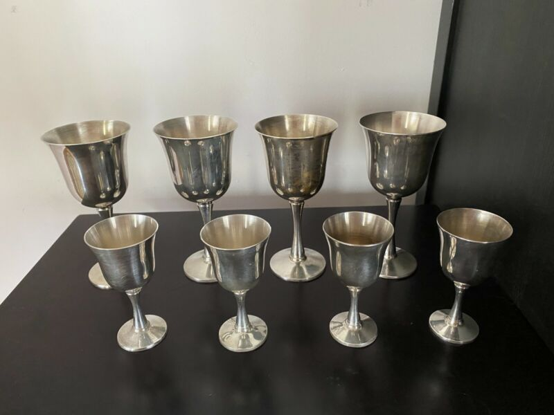 Set of 8 Vintage Salem Silver Plated Wine and Liqueur Goblets Made In Portugal