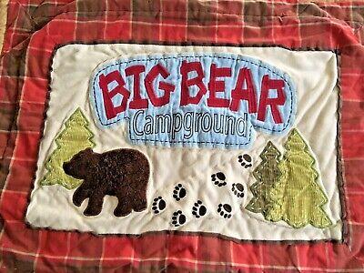 Woolrich Kids Big Bear Campground Standard Size Pillow Case Sham Red Plaid EUC