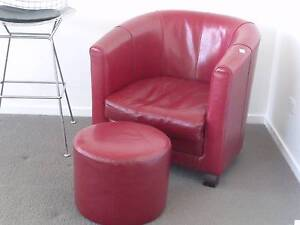 RED LEATHER TUB CHAIR & FOOTSTOOL Hope Island Gold Coast North Preview