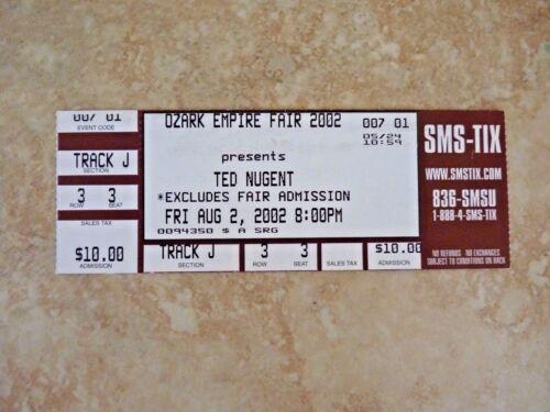 Ted Nugent 2002 Ozark Empire Fair Springfield MO Used Ticket Stub