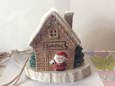 Vintage Christmas Tree Ceramic Mold Santa Claus House Light Up With Base