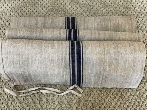 1890 German handwoven linen/hemp grain sack w/cobalt & white stripes pattern