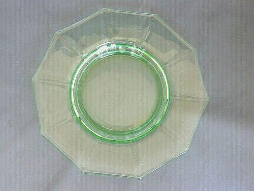 "Plate-Green Decagon-Cambridge Elegant Glass-8""-Cream Soup Liner/Lunch-Vintage"
