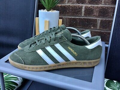 Adidas Hamburg Trainers AC 8687  In A U.K Size 9 In Khaki Olive Green In Ex Con.