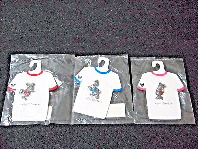 NOS lot 3 DISNEY PINS shirt tags GIORDANO JAPAN pewter? hologram marks