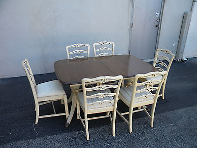 MAHOGANY PAINTED DINING TABLE WITH 6 CHAIRS BY MORGANTON #3703