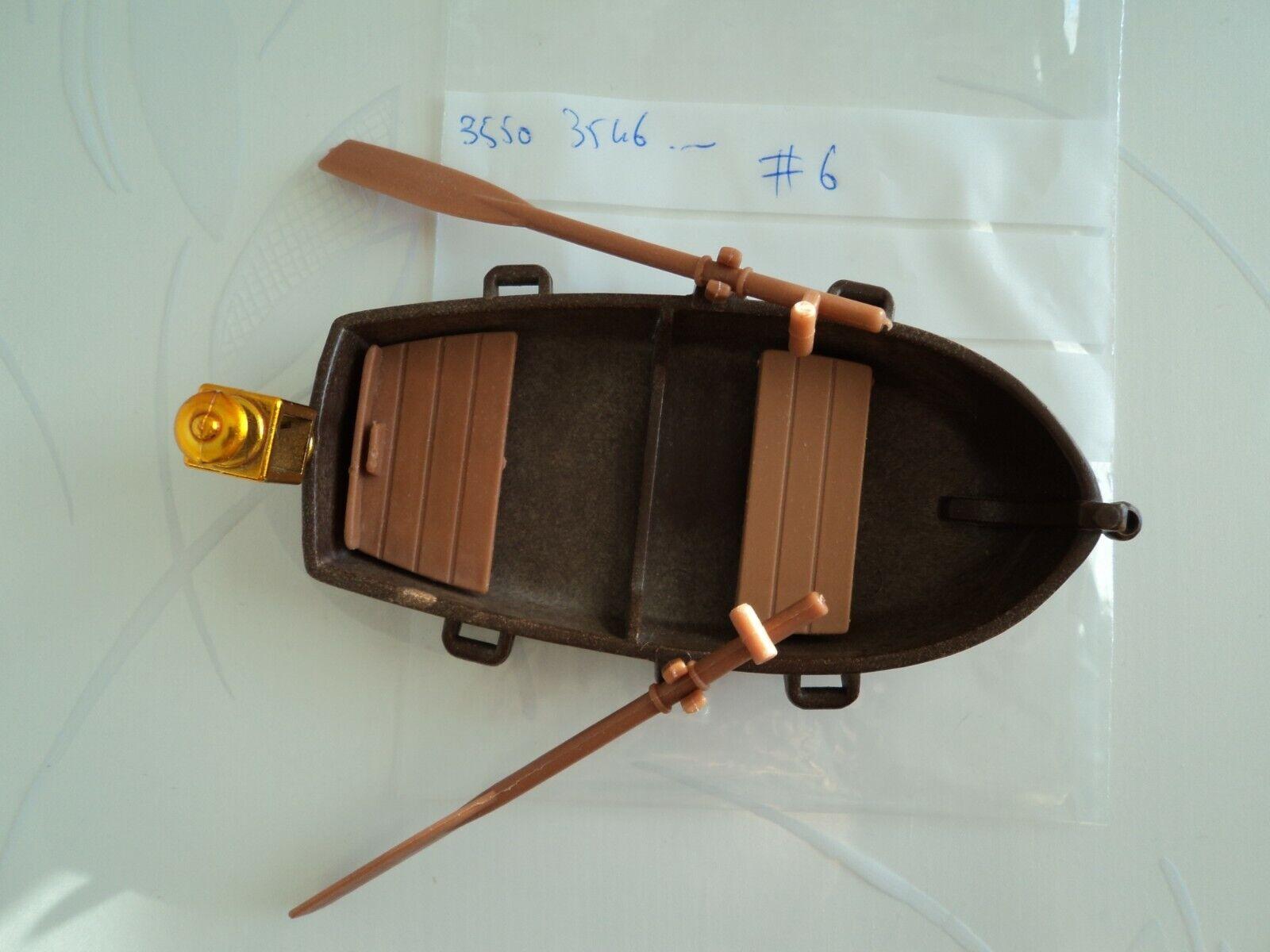Playmobil vintage pirates barque canot marron bois lampe rames 3053 3550 3750 #6