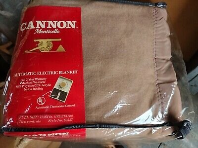 New Vintage Cannon Monticello Coffee Brown FULL Automatic Electric Blanket NOS