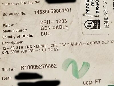 General 223910 123c Chtc Tray Cable Tc Xhhw-2 Conductors Xl-cpe Jacket 50ft