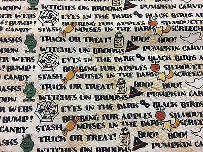 Debbie Mumm for SSI Haunted Halloween WORDS & Bats Cats Frankenstein Fabric BTHY (Word For Halloween)