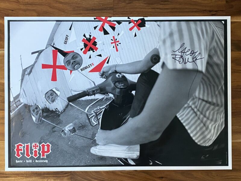 VTG Flip Skateboard Poster Signed by Geoff Rowley 24x36 French Fred Photography