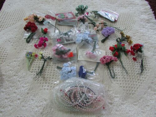 VTG Lot of 100+ Millinery Flowers Ribbon Roses Doll Hat Corsage Cloth Some NIP