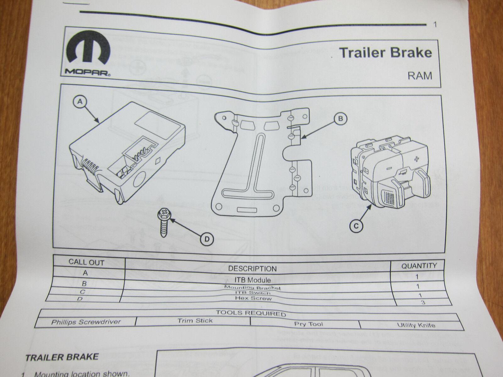2015 Ram 1500 2500 3500 Integrated Trailer Brake Controller Mopar Oem Wiring Harness