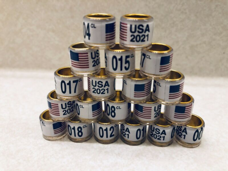 20pcs 8mm pigeon leg bands/rings. Year 2021 for Racing Homers.USA Seller Palomas