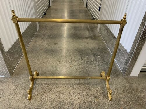 VINTAGE HEAVY BRASS QUILT BLANKET RACK W/ DOLPHIN FEET MADE IN ITALY
