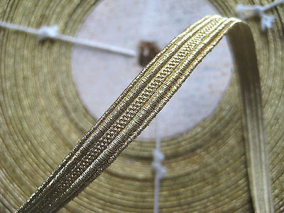 "UNUSED Vintage Antique French Gold Metallic Trim 5/16"" Military Lace"