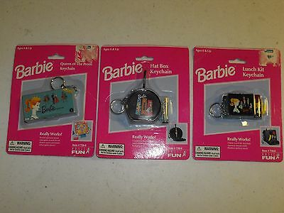 Barbie Keychain Lot of 3 Vintage Lunch Kit + Hat Box + Queen of the Prom NEW