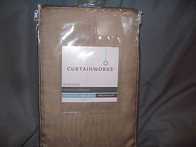 - curtainworks soho voile one pinch pleat panel 29in x 132in- antique NEW!!!