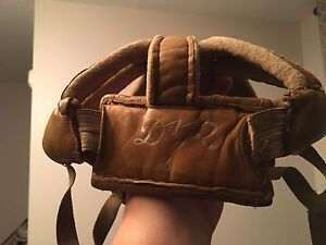 Vintage leather hockey helmet