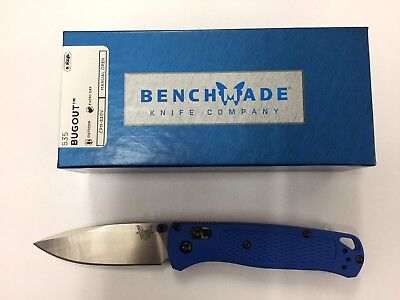 NEW Benchmade 535 Bugout CPMS30V Plain Edge Satin Finish Blade Blue Handle Knife